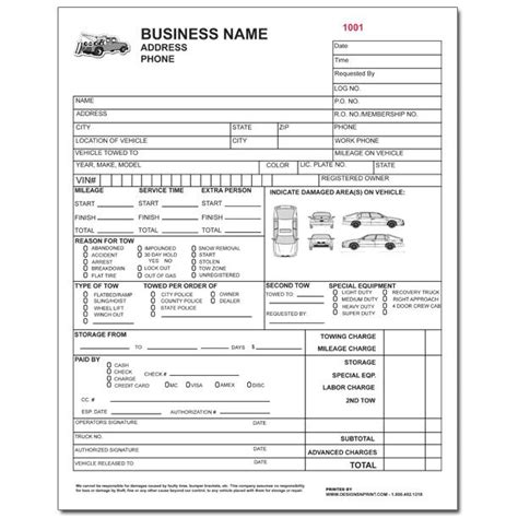Towing Invoice Roadside Service Forms Designsnprint Printable Tow Truck Receipt Template