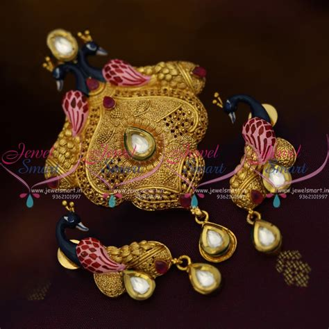 Handmade Gold Jewellery Designs - ps10277 handmade gold plated beautiful real look intricate