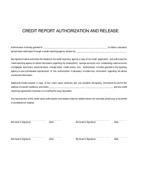 Credit Report Form Letters Sle Credit Check Release Form 7 Exles In Word Pdf