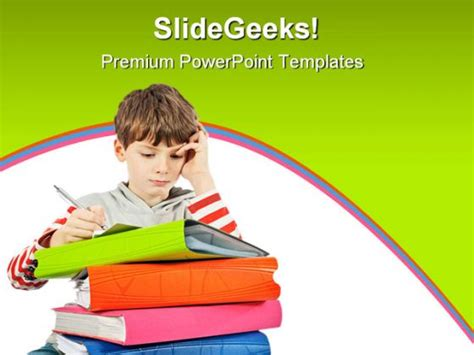 Boy Reading Books Education Powerpoint Template 1010 Free Child Care Powerpoint Templates