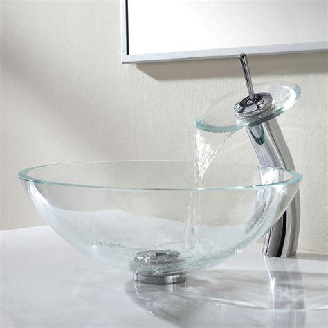 kraus mercury glass vessel sink and waterfall crystal clear glass vessel sink waterfall faucet chrome