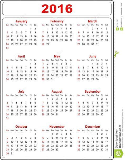 design kalender 2016 gratis eenvoudige kalender 2016 vector illustratie afbeelding