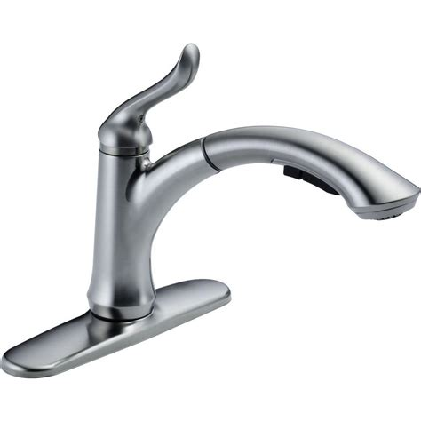 delta single hole kitchen faucet delta linden single handle pull out sprayer kitchen faucet