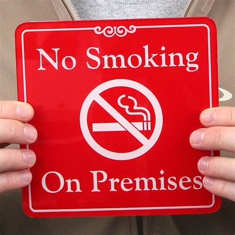 printable no smoking on premises sign no smoking on premises showcase wall sign sku se 5387