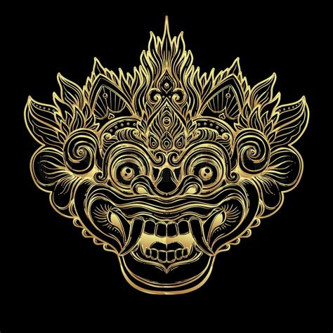 bali temple tattoo barong traditional ritual balinese mask vector