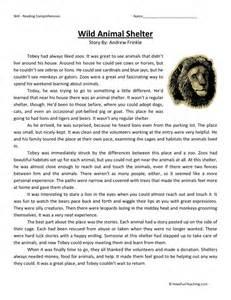 reading comprehension worksheet wild animal shelter