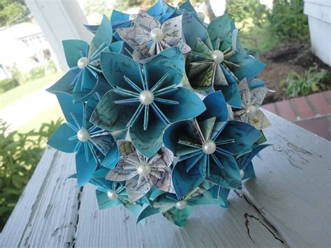 Origami Flower Wedding - map paper flower bouquet bridesmaid bouquet wedding kusudama