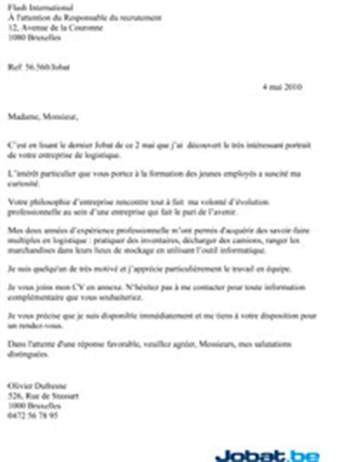 Exemple Lettre De Motivation Candidature Spontanée La Poste La Lettre De Candidature Par L Exemple Jobat Be