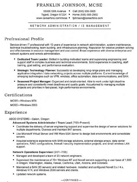 systems administrator sle resume sle resume for an entry level systems administrator