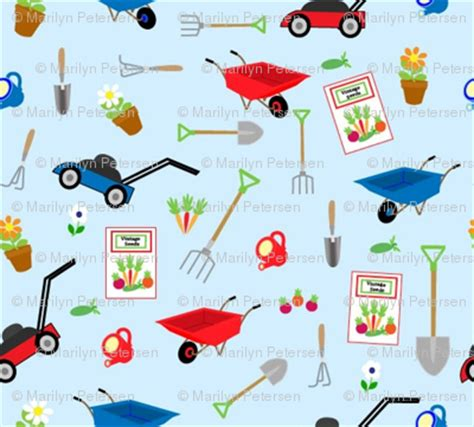 fabric pattern tools garden tools fabric almost vintage spoonflower