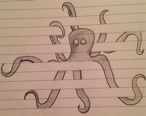how to draw doodle lines octopus lined paper pencil and in color