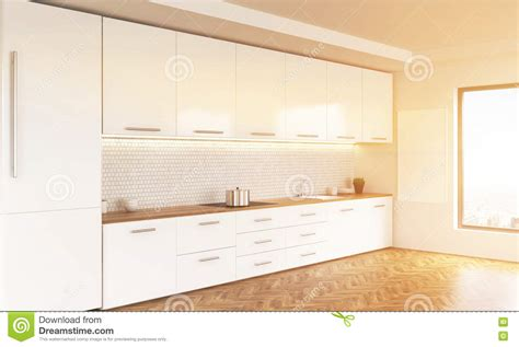 kitchen with wooden ceiling side toned stock image