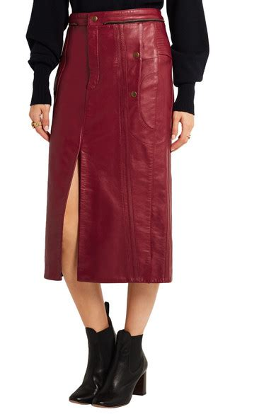 chlo 233 leather pencil skirt net a porter