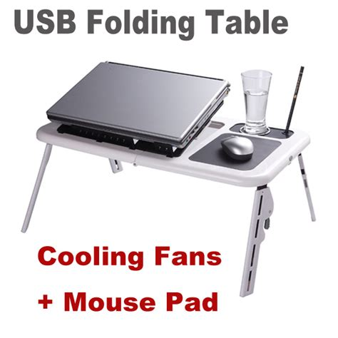 Laptop Desk With Mouse Pad by Adjustable Portable Laptop Usb Folding Table Laptop Desk
