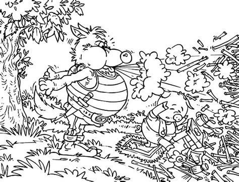 three little pigs wolf coloring page