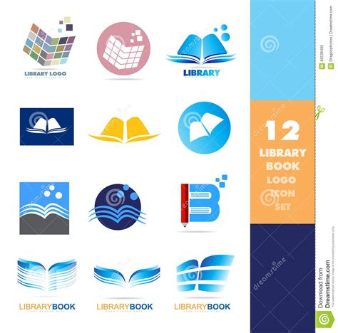 design elements library library book logo icon set stock vector image 60539495