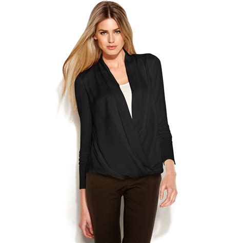 draped blouse michael kors longsleeve draped blouse in black lyst