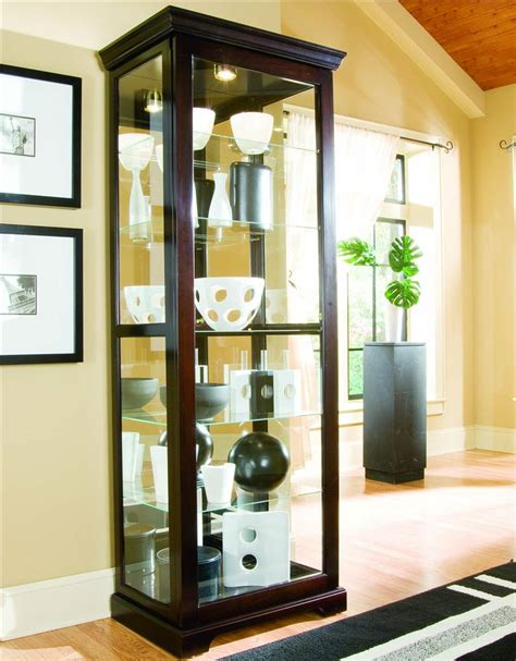 sliding door curio pulaski furniture curios chocolate cherry ii two way