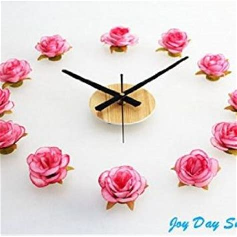 themes clock flower theme decal tm romantic pink white rose from amazon room
