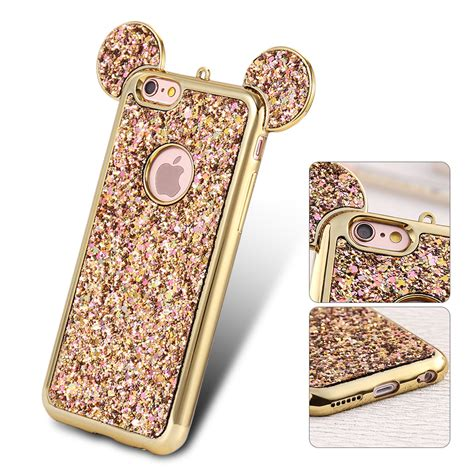 Ap Mickey 3d Glittery High Quality Softcase Iphone 4 5 6 6 Grand ultra thin bling glitter soft tpu mickey ear back cover for iphone samsung ebay