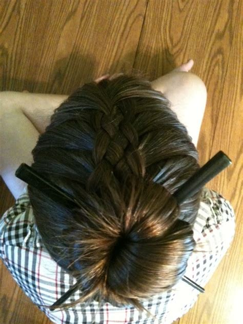 chopstick to platt hairstyle random ramblings 5 strand braid and chopstick bun