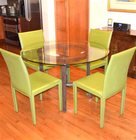 glass dining table and leather chairs crate barrel glass dining table and quot folio quot leather