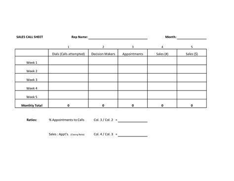 sales sheet template best photos of sales call sheet sales call sheet