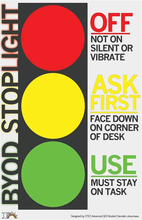 traffic light poster for classroom byod stoplight letourneau byod1 pdf ideas for the