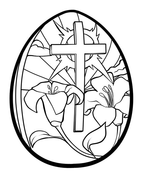 easter egg coloring pages printable lilies and cross