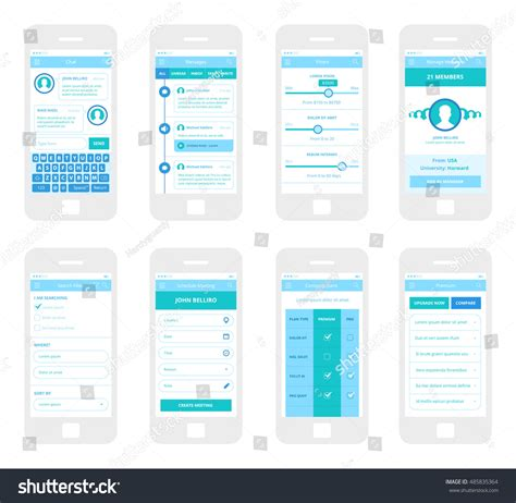 wireframe profiles mobile app wireframe ui kit chat stock vector 485835364