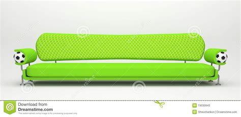 Soccer Sofa by Lengthful Sofa With Football Symbolics Stock Photos