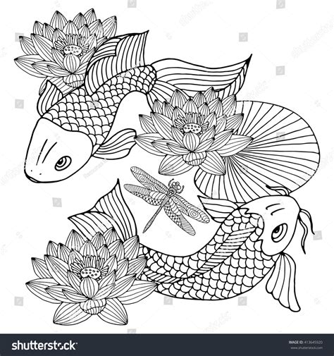 Two Koi Fish Outline by Koi Fish Drawing Outline Www Imgkid The Image Kid Has It