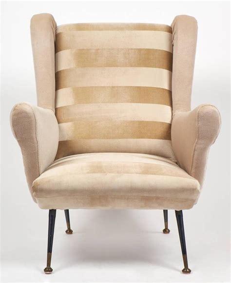 italian armchairs contemporary italian mid century modern striped velvet armchairs for