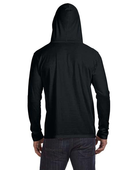 sleeve hooded shirt anvil t shirt 987an basic s ringspun sleeve