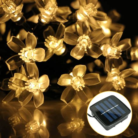 mini solar powered 50led blossom fairy string light l