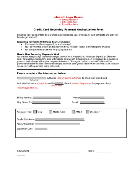 recurring credit card authorization form template 8 credit card authorization form sles sle templates