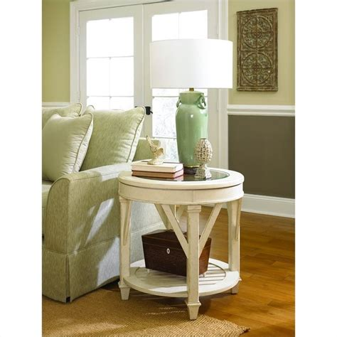 accent table cloths hammary promenade round end table in antique linen