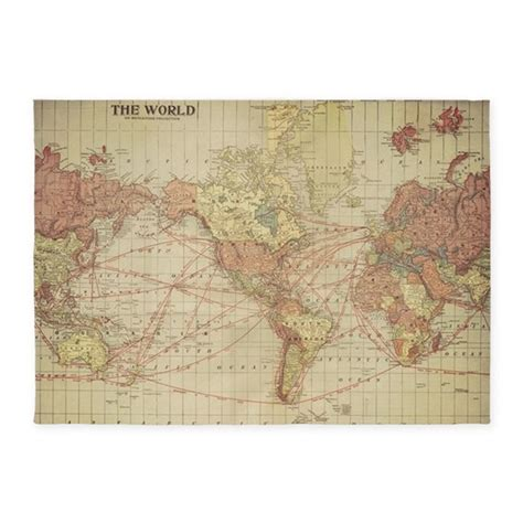 vintage world map 5 x7 area rug by listing store 122860481