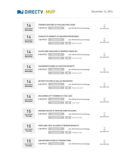 printable nfl schedule directv your directv mvp marketing credits are rolling off at