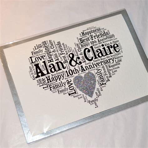 printable 10th wedding anniversary cards personalised 10th wedding anniversary love sparkle card by