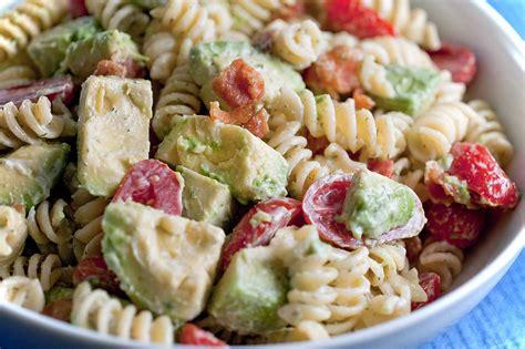 creamy pasta salad recipes recipe for creamy bacon tomato and avocado pasta salad