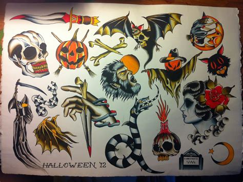 halloween tattoo flash 24 horror tattoos flash ideas