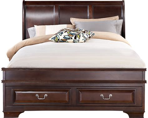 rooms to go bed rooms to go mill valley ii cherry 3 pc queen sleigh bed w