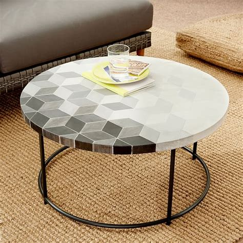 coffee table mosaic mosaic tiled coffee table isometric concrete top west elm