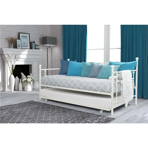 White Metal Daybed With Trundle Size White Metal Daybed With Roll Out Trundle Bed Fastfurnishings