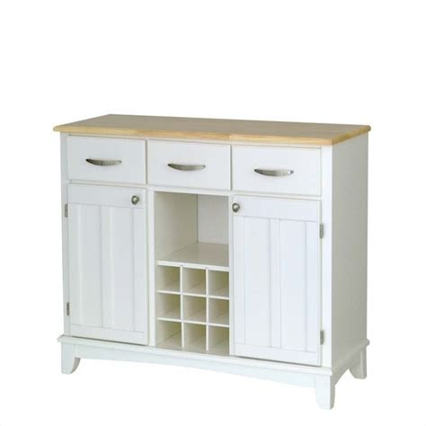 white buffet with natural wood top 5100 0021