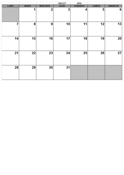 Calendrier Juillet Aout 2014 Mensuel 2014