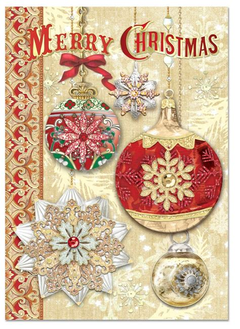 lisas holiday red punch gold n ornaments boxed cards punch studio fairyglen
