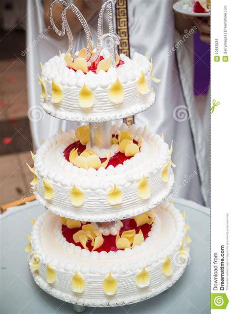 Hochzeitstorte Mit Foto by Geschmackvolle Hochzeitstorte Mit Sahne Stockfoto Bild