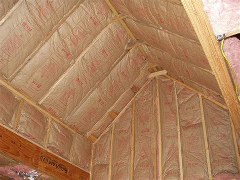 Insulating Sloped Ceiling by Insulation Of Vaulted Ceiling Here S The Progress With